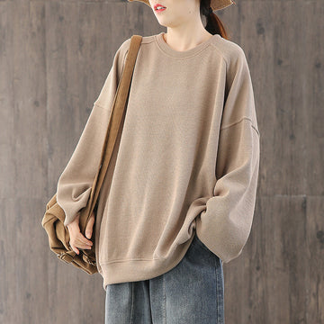 Solid Color Loose Spring Sweatshirt