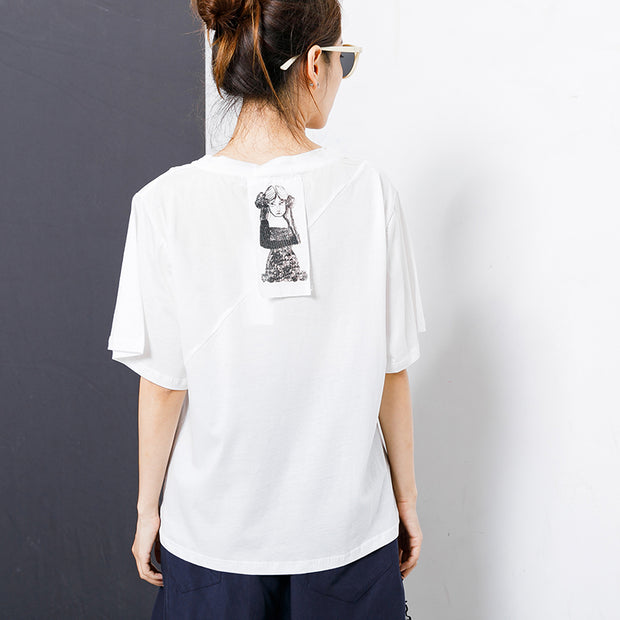 Solid Color Patchwork Asymmetrical Hem T-Shirt