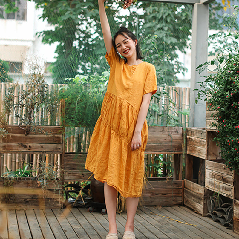 Solid Color Pleated Spliced Casual Dress