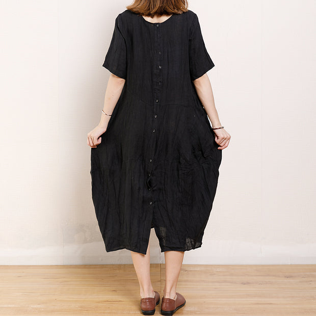 Solid Color Pleated Summer Loose Dress