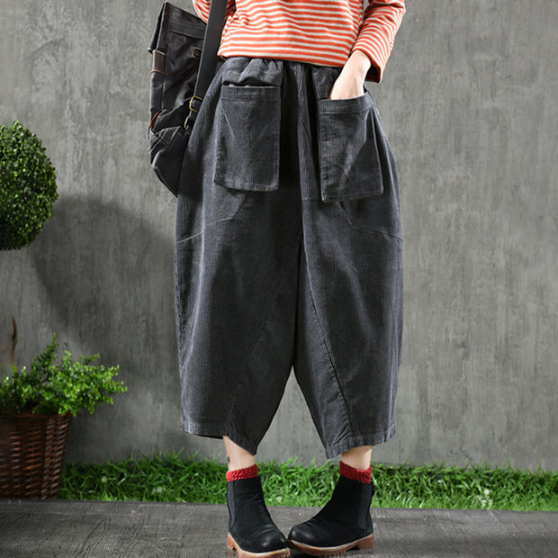Solid Color Retro Loose Harem Pants