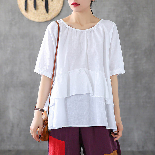 Solid Color Ruffled Pullover Linen T-Shirt