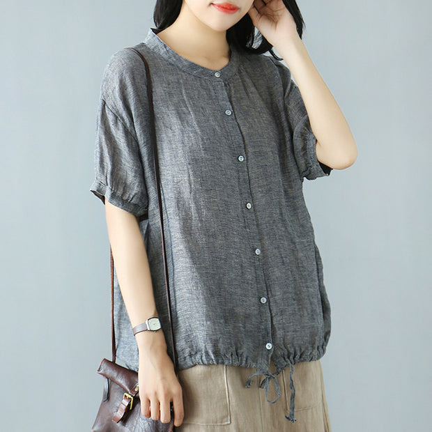 Solid Color Single Breasted Linen T-Shirt