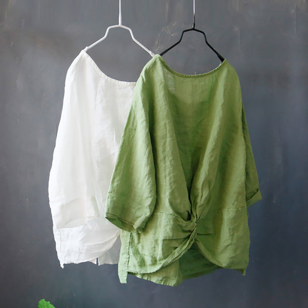 Solid Color Single Breasted Reversible Blouse