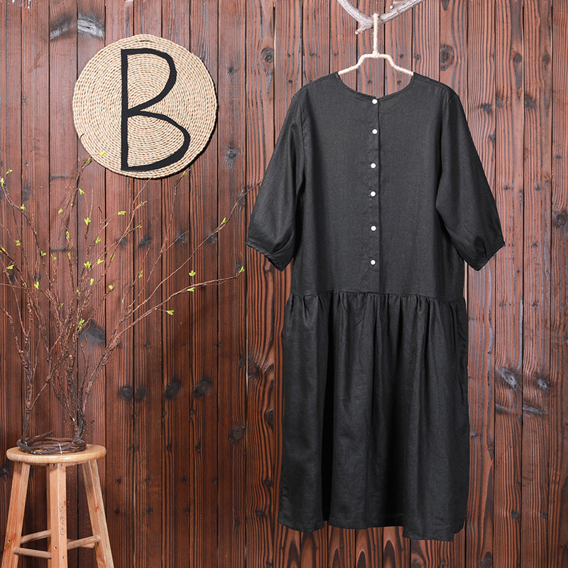 Solid Color Spliced Casual Loose Linen Dress