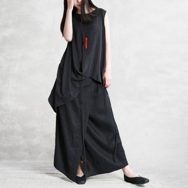 Solid Color Spliced Lacing Irregular Dress