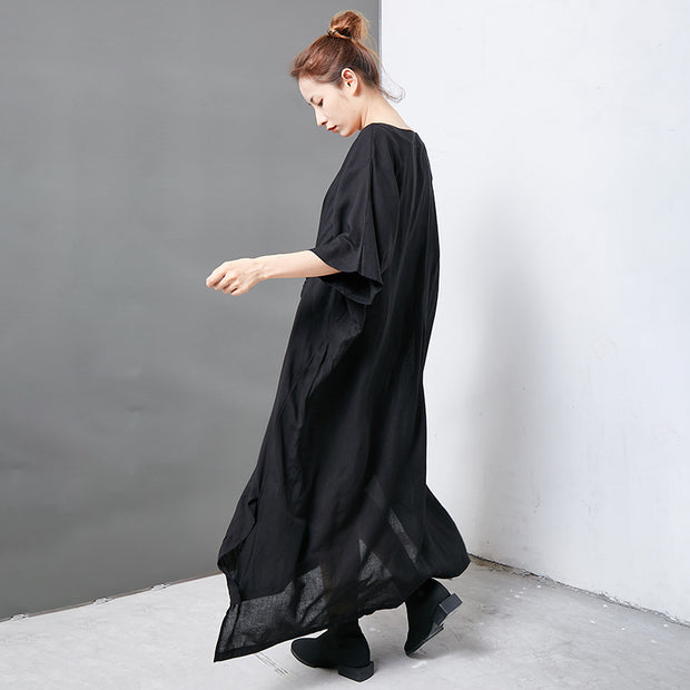 Solid Color Split Adjustable Sleeve Loose Dress