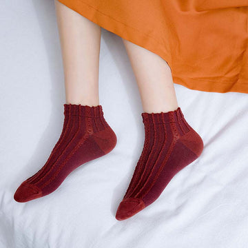 Solid Color Texture Jacquard Socks - 5 Pairs