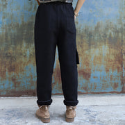 Solid Color Thick Warm Casual Pants