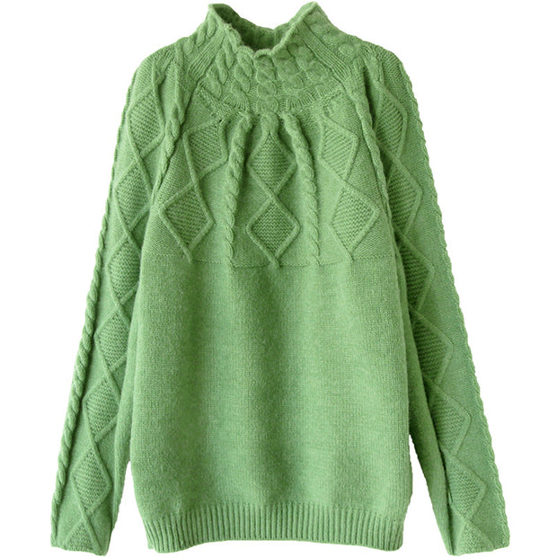 Solid Color Turtleneck Pullover Women Winter Sweater
