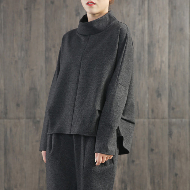Solid Color Turtleneck Top And Harem Pants
