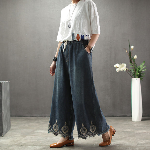 Solid Embroidery Sand Wash Wide Leg Pants