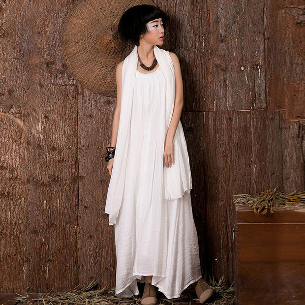 Solid Spliced Loose A-Line Sleeveless Dress