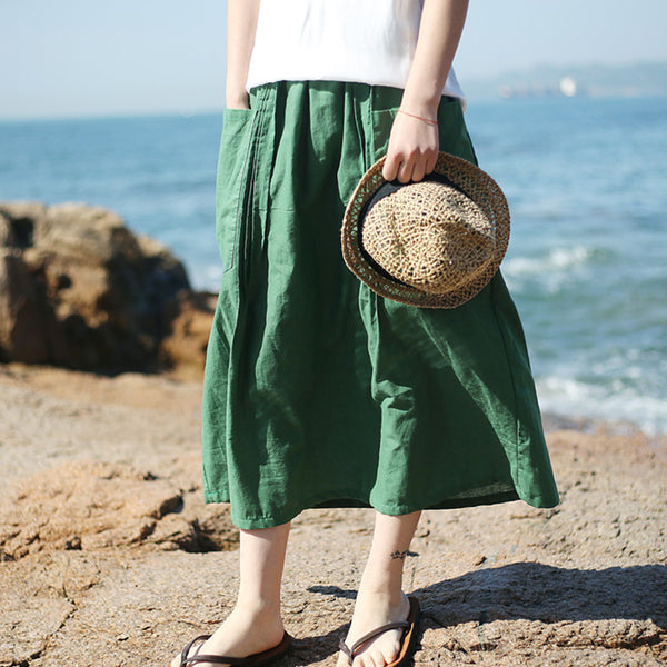 Solid Washed Ramie Skirt With Pintuck Pockets