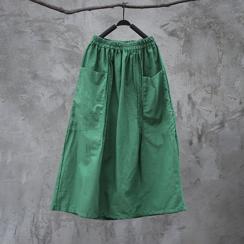 Plus Size Solid Washed Skirt With Pintuck Pockets