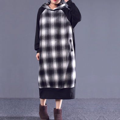 Splice Velvet Plaid Winter Hooded Dress