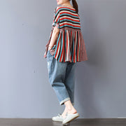 Spliced Colored Stripes Loose Breathable T-Shirt