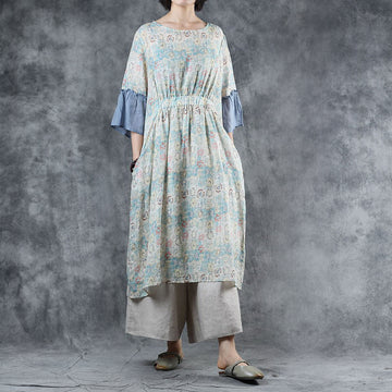 Spliced Flare Sleeve Loose Print Dress