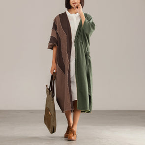 Spliced Linen Autumn Women Casual Coat