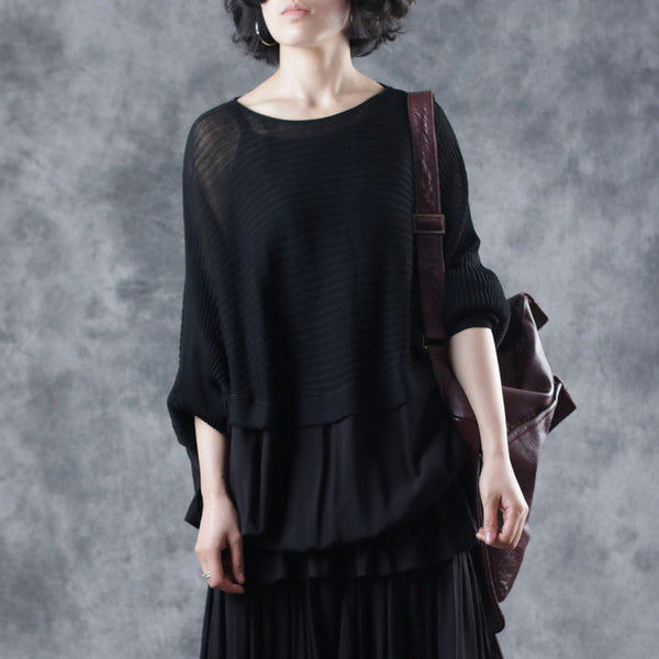 Spliced Loose Solid Batwing Sleeve Blouse