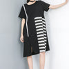 Spliced Striped Round Neck Half Sleeve Dress