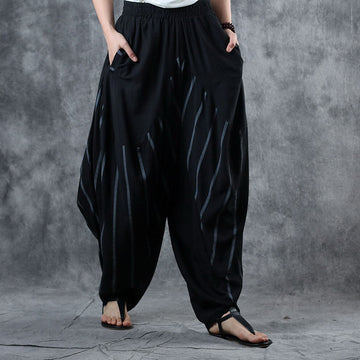 Spliced Striped Thin Loose Harem Pants
