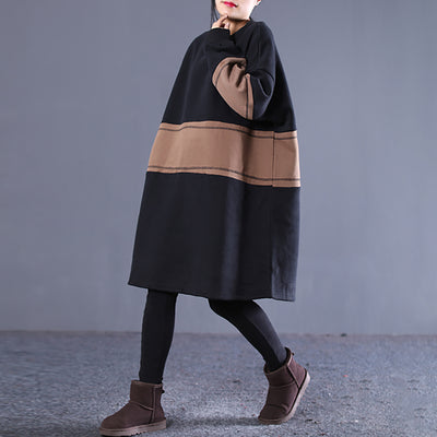 Spliced Winter Loose Midi Pullover Casual Dress
