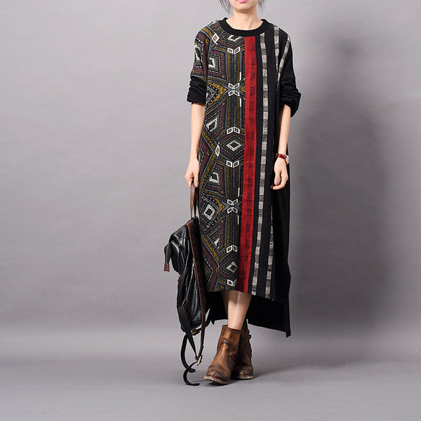 Splicing Irregular Printing Batwing Sleeve Dress