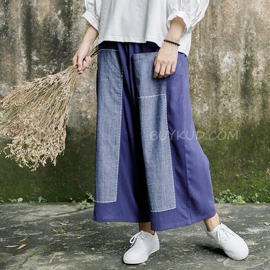 Splicing Loose Women Linen Wide Leg Pants