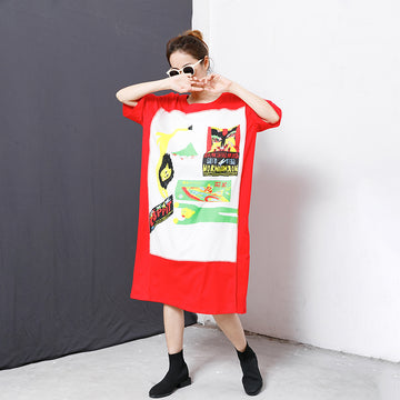 Splicing Printed Short Sleeve Summer T-shirt Dress