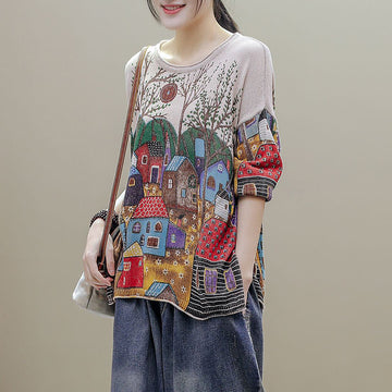 Split Hem Printed Half Sleeve Knitted T-Shirt