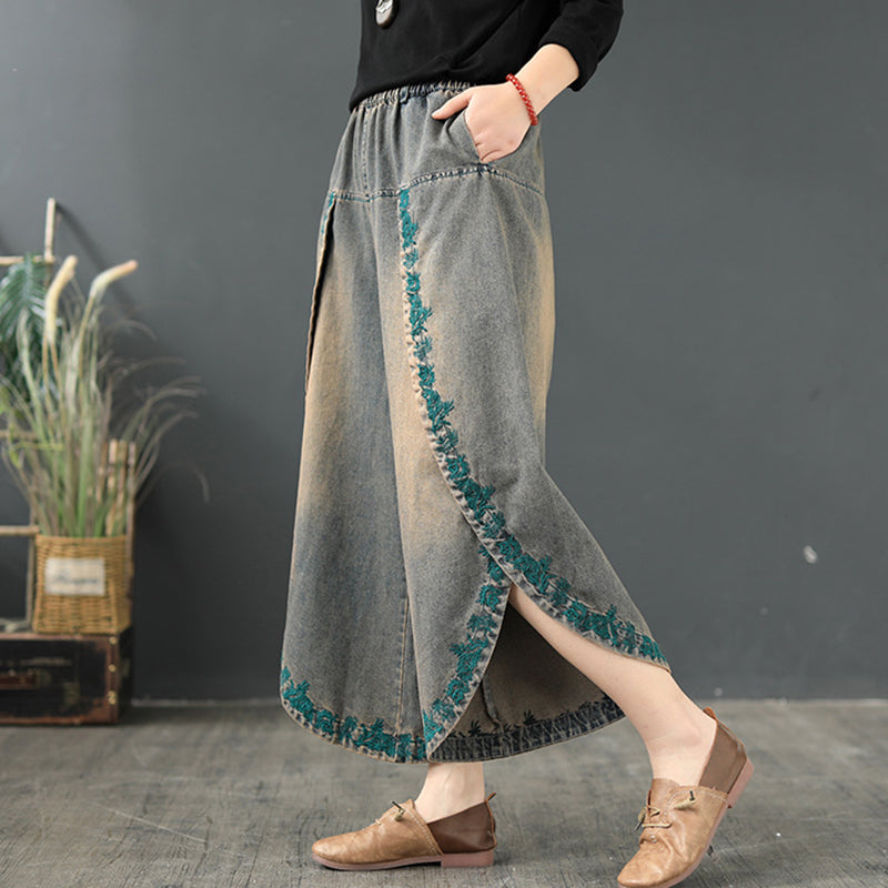 Split Hem Embroidery Loose Wide Leg Pants