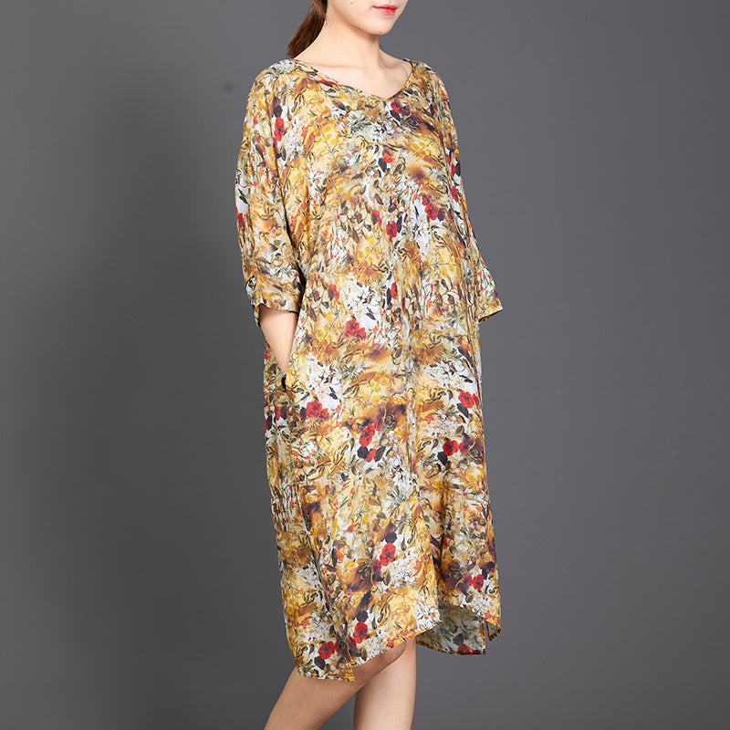 Split Hem Floral Printed Casual Loose Dress