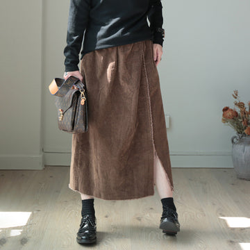 Split Hem Natural Burr Corduroy Skirt