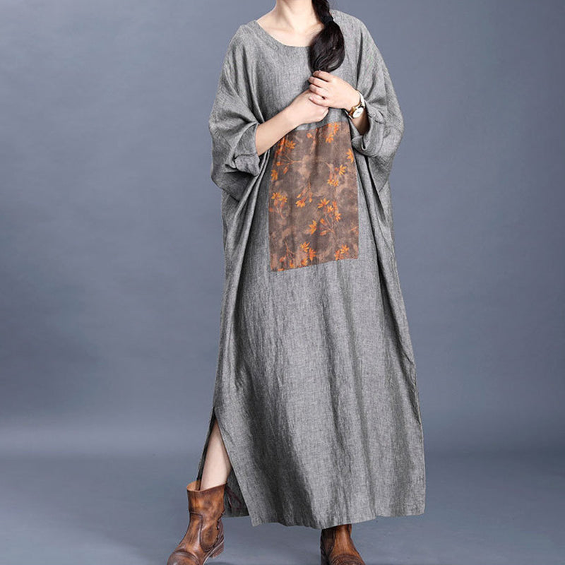 Split Hem Printed Loose Round Neck Dress