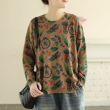 Split Hem Printed Spring Knitted Shirt