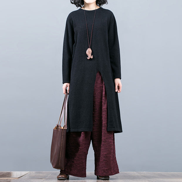 Split Hem Pure Color Round Collar Long Sweater