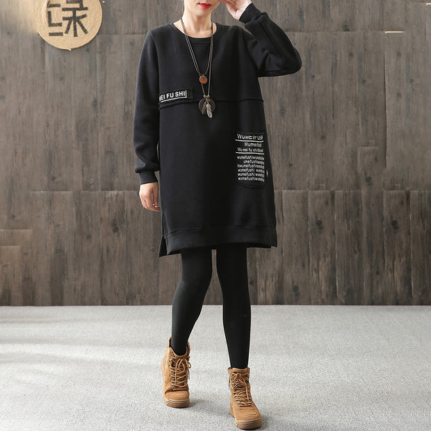 Split Letter Print Casual Women Cotton Dress