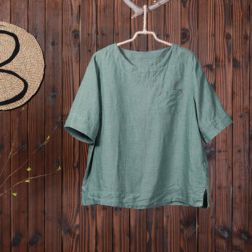 Split Pure Color Casual Comfortable T-Shirt