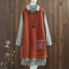 Split Women Patchwork Sleeveless Winter Long Sweater