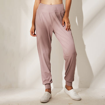 Sports Purecolor Polyester Yoga Trousers