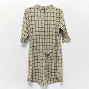 Spring Plaid Women Cotton Linen Drawstring Shirt Dress