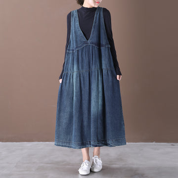 Spring Casual Loose Washed Blue Denim Sundress