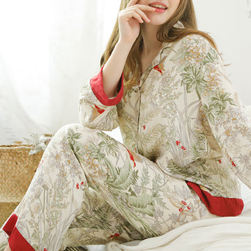 Spring Casual Plant Print Loungewear