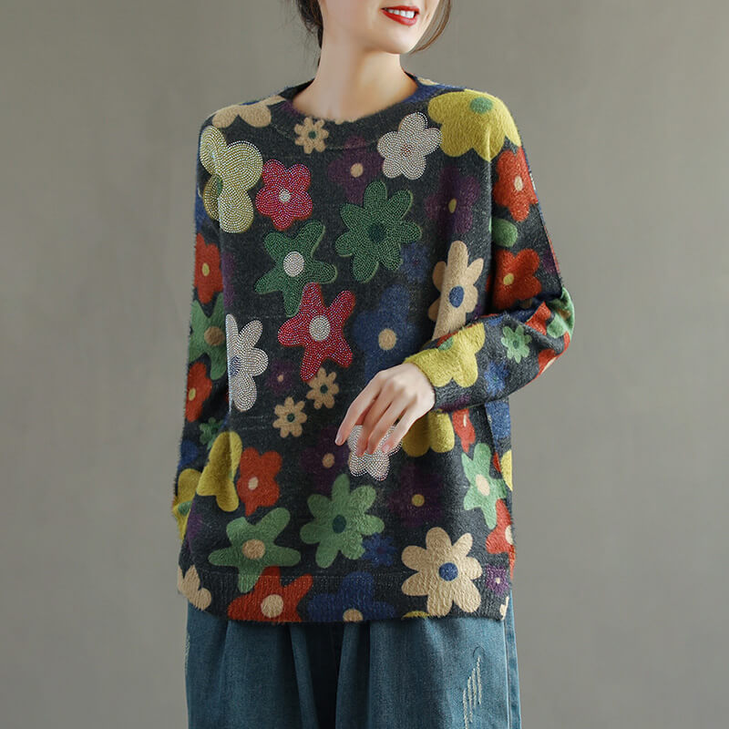 Spring Colored Flower Rhinestone Sweater