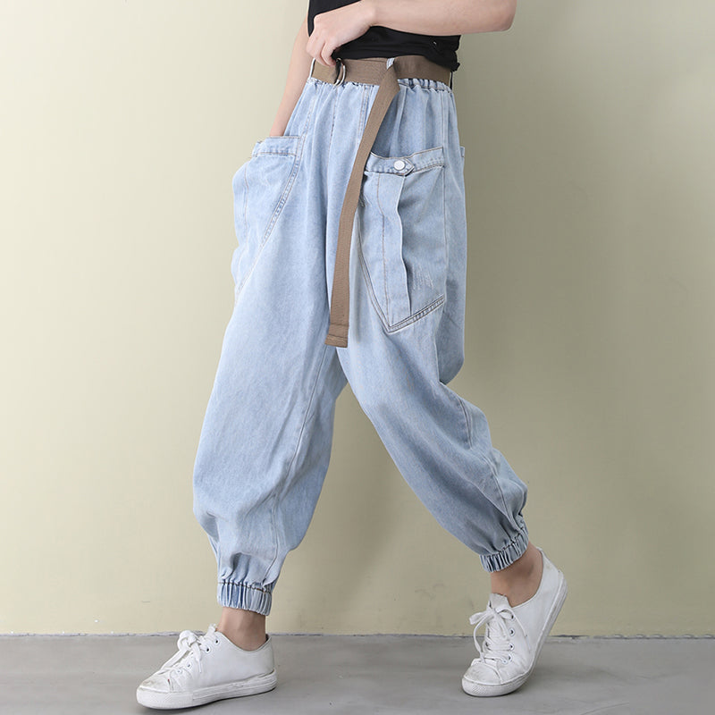 Spring Distressed Frayed Blue Jeans
