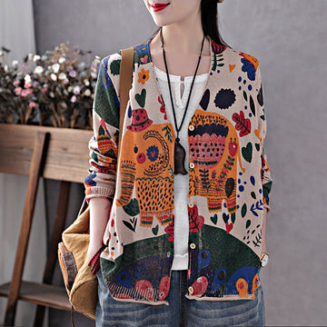 Spring Elegant Printed Knitted Cotton Coat