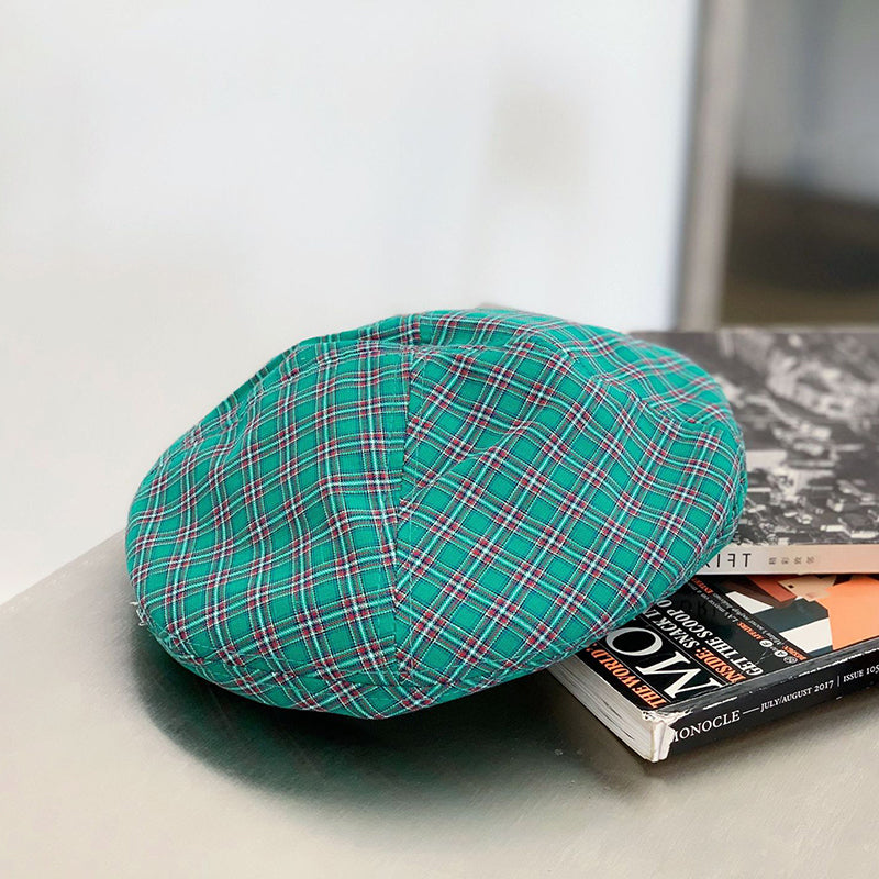 Spring Female Plaid Cotton Berets Hats