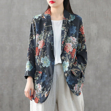 Spring Floral Printed Casual Linen Blazer