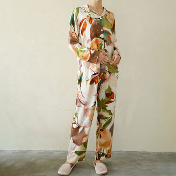 Spring Leaf Prints Silky Pajamas For Women
